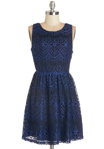 Chic Congratulations Dress - Black, Lace, Casual, A-line, Sleeveless, Fall, Knit, Lace, Good, Scoop, Blue, Mid-length