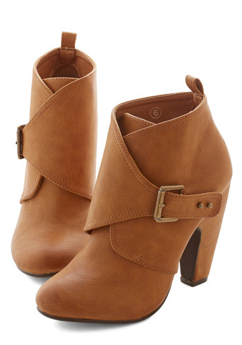 Brilliant Down the Block Bootie in Cognac - High, Faux Leather, Tan, Solid, Buckles, Urban, Good