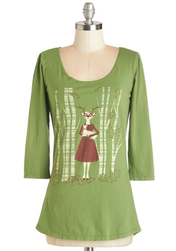 Friends Through Thicket and Thin Top - Green, 3/4 Sleeve, Cotton, Knit, Mid-length, Green, Tan / Cream, Novelty Print, Casual, Woodland Creature, 3/4 Sleeve, Scoop