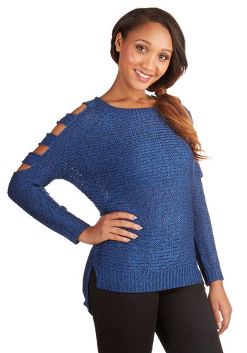 Ballast Breakfast Sweater in Blue - Mid-length, Knit, Blue, Solid, Cutout, Casual, Long Sleeve, Fall