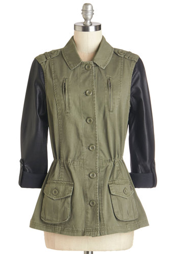 Rock Enroll Jacket - Mid-length, Cotton, Faux Leather, 1, Green, Black, Buttons, Epaulets, Exposed zipper, Pockets, Studs, Casual, Fall
