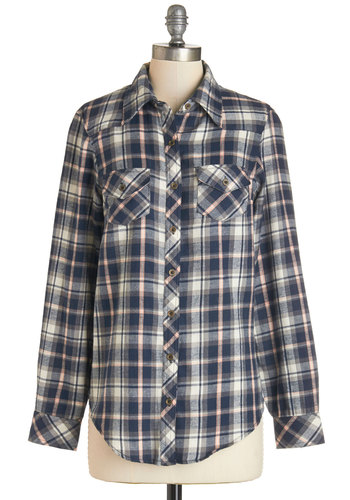 Craft Cider Tasting Top in Navy - Blue, Long Sleeve, Cotton, Woven, Blue, Pink, White, Plaid, Casual, Button Down, Long Sleeve, Fall, Mid-length