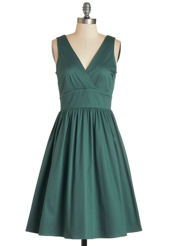 Lesson in Allure Dress - Cotton, Woven, Solid, Daytime Party, Fit & Flare, Sleeveless, Fall, Bridesmaid