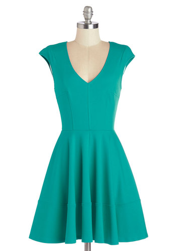 Curtsy for Yourself Dress in Teal - Green, Solid, Work, A-line, Cap Sleeves, Better, Variation, V Neck, Knit, Mid-length