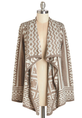 Jetset in Motion Cardigan in Taupe - Brown, Long Sleeve, Mid-length, Tan, White, Print, Folk Art, Fall, Winter, Rustic, Knit, Top Rated