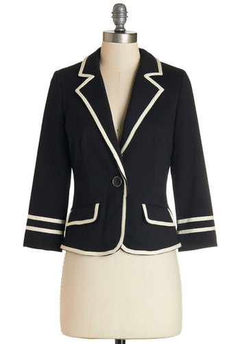 Academia Ahoy Blazer in Black - Cotton, Knit, Black, Trim, Work, 1, Short, Nautical, Solid, Scholastic/Collegiate, 3/4 Sleeve, Fall, Better, Collared, Black