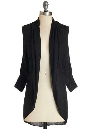 Reading by the River Cardigan in Black - Mid-length, Knit, Black, Solid, 3/4 Sleeve, Fall