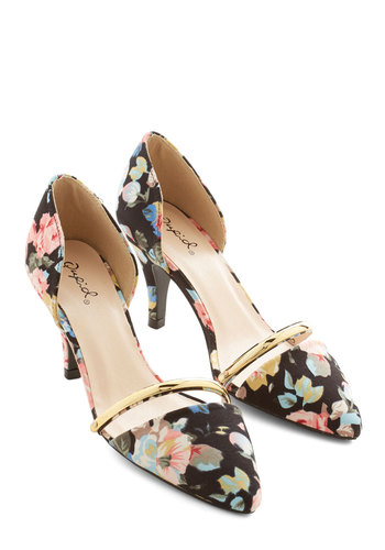 Arrange the Itinerary Heel - Mid, Woven, Black, Floral, Wedding, Party, Work, Darling, Good, Multi