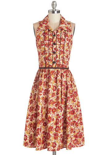 Cornucopia of Cute Dress - Floral, Buttons, Trim, Casual, A-line, Sleeveless, Fall, Woven, Better, Collared, Cotton, Multi, Long