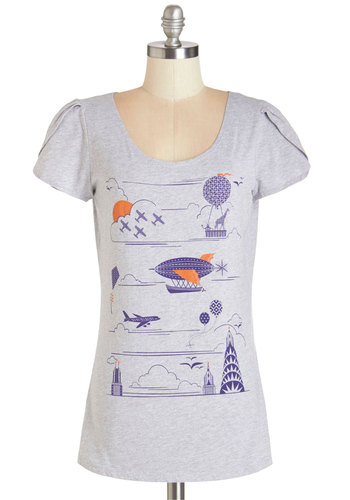 Flight On Your Feet Top - Grey, Short Sleeve, Mid-length, Knit, Grey, Multi, Novelty Print, Casual, Short Sleeves