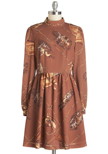 Styled Horses Dress by Nishe - Mid-length, Woven, Brown, Print with Animals, Work, Casual, A-line, Long Sleeve, Fall