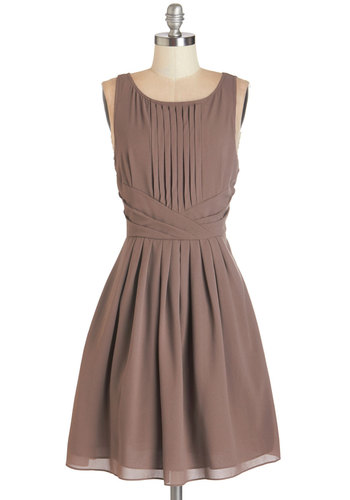 Dramatically Simple Dress - Mid-length, Woven, Tan, Solid, Work, Fit & Flare, Sleeveless, Fall, Pleats, Cocktail