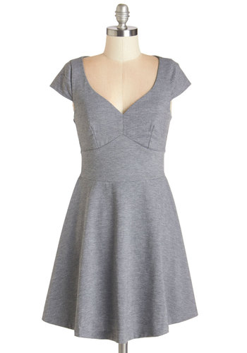 Best Martini Ever Dress - Grey, Solid, Work, Casual, A-line, Cap Sleeves, Fall, Knit, Good, Sweetheart, Cotton