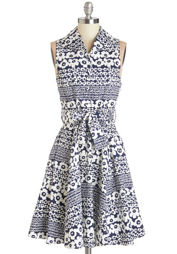 Best Daisies Ever Dress - Blue, White, Floral, Buttons, Belted, Casual, A-line, Sleeveless, Woven, Better, Collared, Cotton, Mid-length
