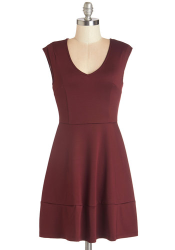 Specialty Chili Dress - Red, Solid, Casual, A-line, Sleeveless, Fall, Woven, Good, V Neck, Short, Satin