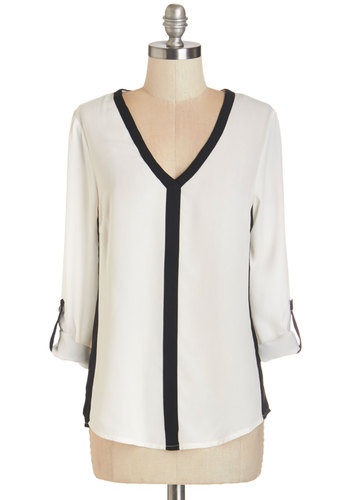 Awe-Inspiring Assistant Top in Monochrome - Mid-length, Sheer, Woven, White, Black, Solid, Trim, Work, 3/4 Sleeve, V Neck