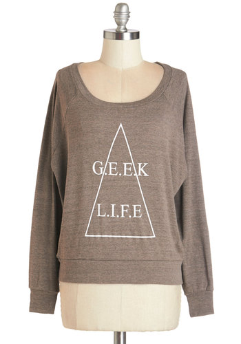 It's All Geek to Me Sweatshirt - Short, Knit, Tan, Novelty Print, Casual, Scholastic/Collegiate, Long Sleeve, Fall