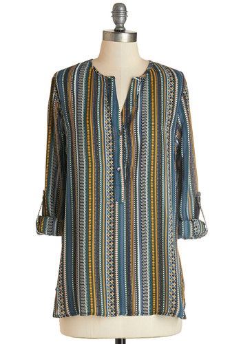 Boundless Color Top - Mid-length, Woven, Multi, Stripes, Print, Buttons, Work, 3/4 Sleeve, Fall