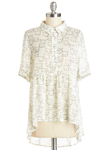 Where Purr Art Thou Top - Mid-length, Chiffon, Sheer, Woven, White, Black, Print with Animals, Buttons, Casual, Cats, Short Sleeves