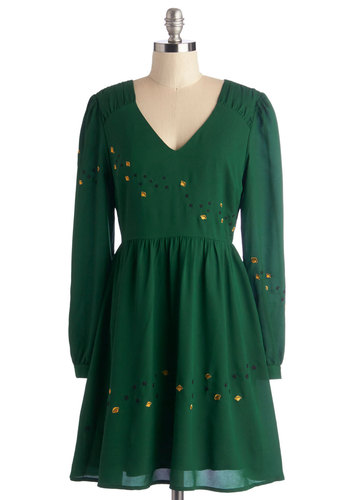 All According to Planet Dress by Nishe - Mid-length, Woven, Green, Solid, Embroidery, Cosmic, A-line, Long Sleeve, Fall, V Neck