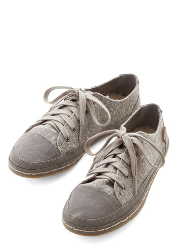 Trail Traipsing Flat - Flat, Woven, Grey, Solid, Casual, Better, Lace Up, Top Rated