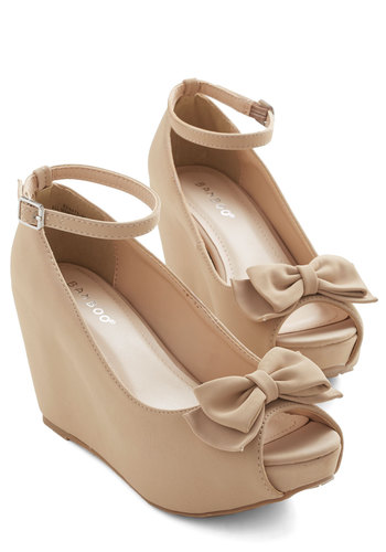 Pack on the Panache Wedge - Mid, Faux Leather, Tan, Solid, Bows, Wedding, Party, Holiday Party, Bridesmaid, Darling, Good, Peep Toe
