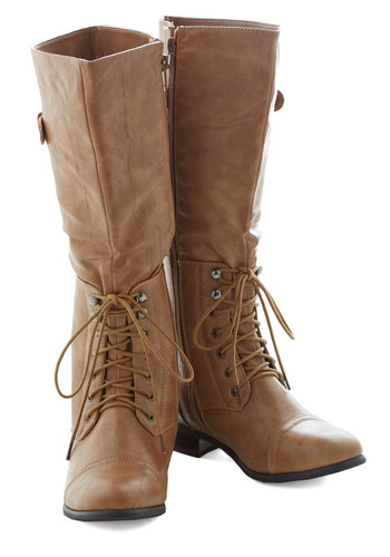 Cable Car Cutie Boot - Tan, Solid, Buckles, Steampunk, Lace Up, Low, Faux Leather, Good, Knee