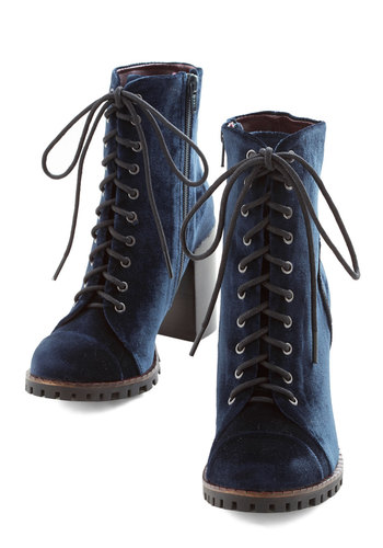 High Line Praise Boot - Blue, Solid, Steampunk, Lace Up, Mid, Better, Vintage Inspired, 90s, Fall, Halloween