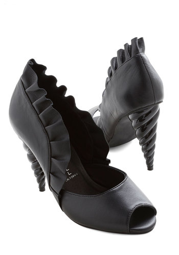 Unicorn Princess Heel in Black by Jeffrey Campbell - Black, Solid, Ruffles, High, Best, Peep Toe, Leather, Party, Girls Night Out, Top Rated