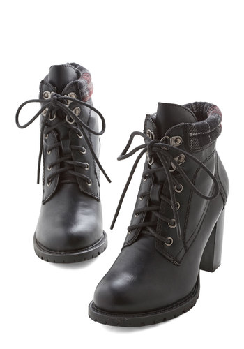 Street Style Fashion Show Bootie in Black - Mid, Faux Leather, Knit, Black, Multi, Solid, Plaid, Buckles, Urban, Good, Chunky heel, Lace Up, Work