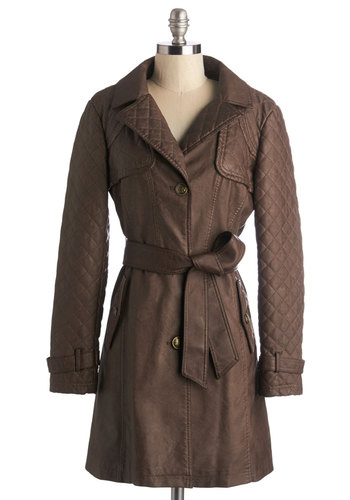 Trendsetting Traveler Coat - Better, Brown, Fall, Faux Leather, Brown, Solid, Buttons, Quilted, Belted, Work, Long Sleeve, 2, Long