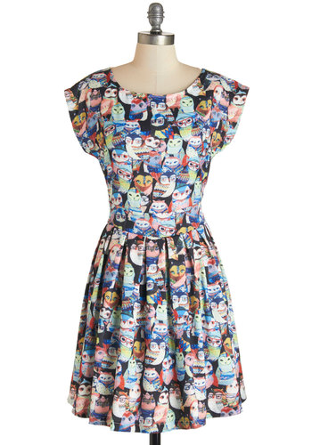 Wise on the Prize Dress - Mid-length, Knit, Multi, Print with Animals, Pleats, Owls, Scholastic/Collegiate, A-line, Short Sleeves