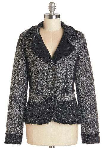 Eclectic Instructor Jacket - Woven, Black, White, Buttons, Lace, Work, Long Sleeve, Fall, 1, Mid-length