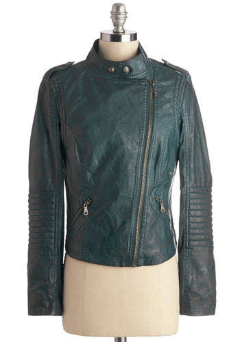 Reading-Bound Jacket in Spruce - Short, Faux Leather, Green, Solid, Exposed zipper, Pockets, Quilted, Urban, Long Sleeve, Fall, 1