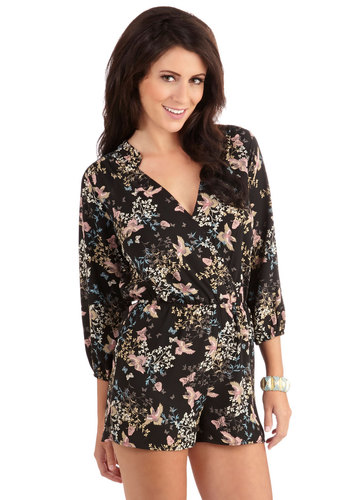 'Til Nest Time Romper - Fall, Good, Black, Romper, Woven, Black, Multi, Floral, Print with Animals, Long Sleeve