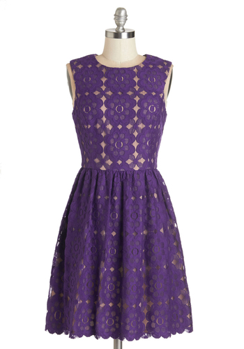 Outdoor Arpeggios Dress in Deep Purple - Purple, Lace, A-line, Sleeveless, Better, Variation, Scoop, Mid-length, Lace, Valentine's, Wedding, Daytime Party, Graduation, Bridesmaid