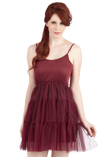 Give Me Gracefulness Full Slip in Wine - Red, Solid, Ruffles, Tiered, Boho, Sheer, Knit, Valentine's, 90s, Jersey, Tulle