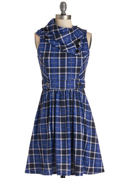 Coach Tour Dress in Blue Plaid