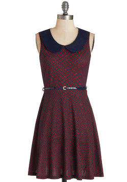 Work to Play Dress in Red Dots