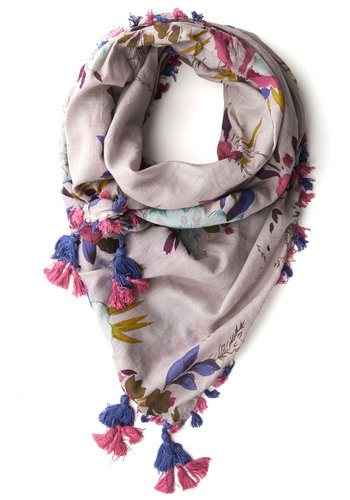 Fringe Fest Scarf in Lilac - Purple, Multi, Cotton, Floral, Tassels, Top Rated