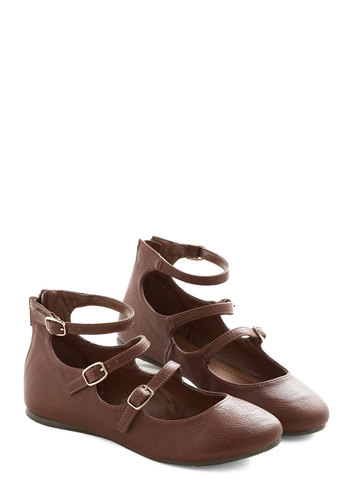 Trolley Holiday Flat in Chestnut - Flat, Faux Leather, Brown, Solid, Buckles, Casual, Good, Strappy, Variation