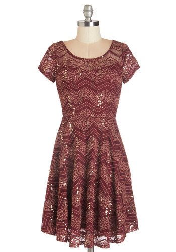 Simply Shining Dress - Mid-length, Knit, Lace, Red, Gold, Chevron, Sequins, Party, Holiday Party, A-line, Short Sleeves, Fall, Good