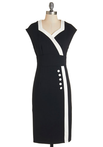 Poems and Port Dress - White, Trim, Party, Vintage Inspired, 40s, Shift, Cap Sleeves, Better, Knit, Black, Sweetheart