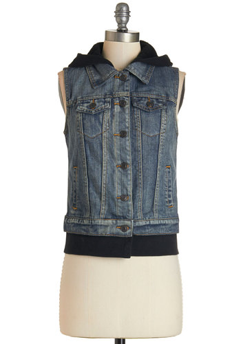 Vest Things in Life - Woven, Short, Blue, Solid, Pockets, Casual, Hoodie, Sleeveless, Buttons, Urban, Denim, Fall, 90s, Blue, Festival, Top Rated, Boho