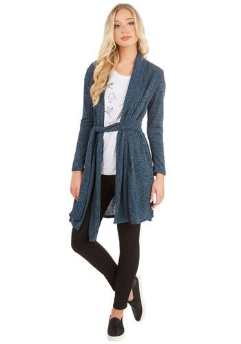 Your Hearth's Content Cardigan - Blue, Long Sleeve, Long, Knit, Blue, Solid, Casual, Long Sleeve, Fall