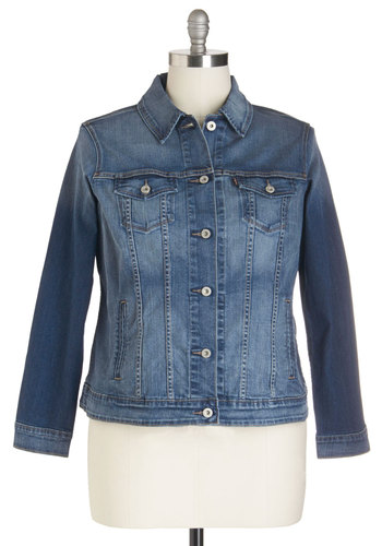Career Coach Jacket in Plus Size by Levi's - Denim, Woven, Cotton, Blue, Solid, Buttons, Pockets, Casual, Long Sleeve, 80s, Top Rated, 1