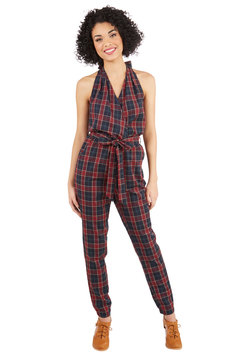 Impeccable in Plaid Jumpsuit