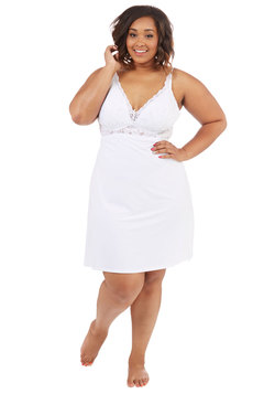 Brilliant in the Boudoir Nightgown in White - Plus Size