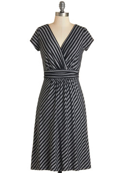 Casual Decorum Dress in Black Stripes