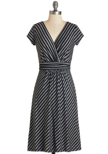 Casual Decorum Dress in Black Stripes